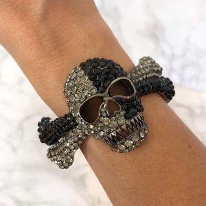 Skeleton Skull & Crossbones Hinge Cuff Bracelet